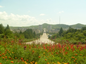 Flowers everywhere, a couple of hours from Pyongyang