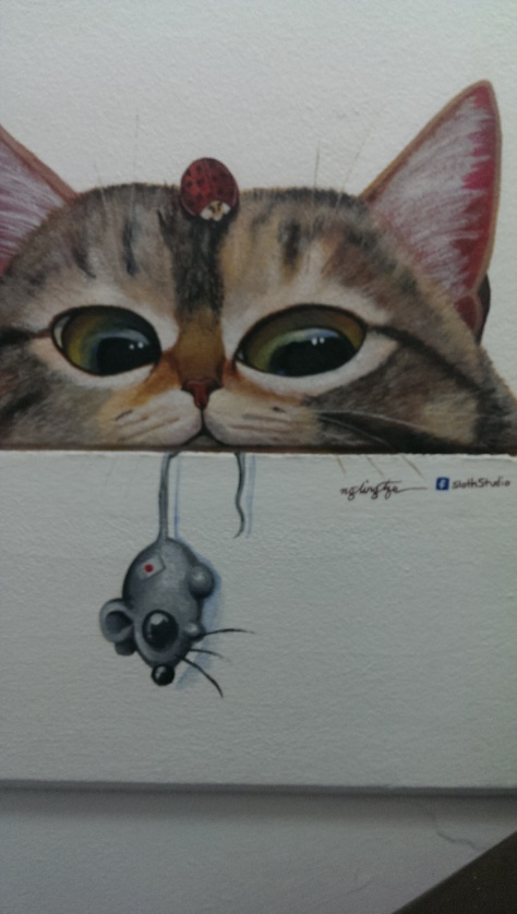 Kitty artwork all the way up the stairs!